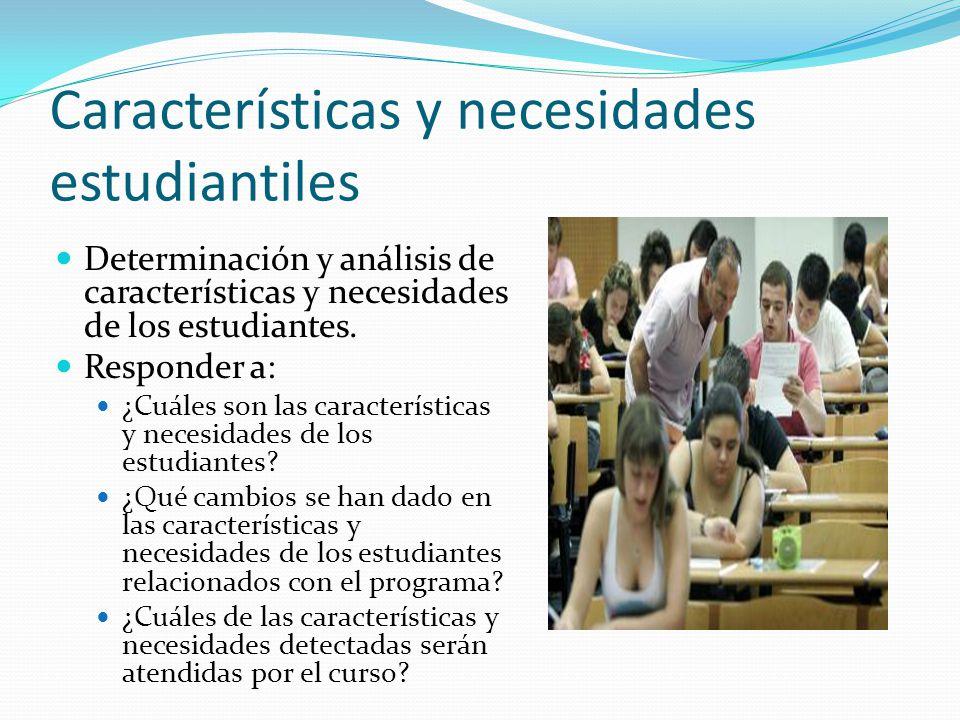 Características y necesidades estudiantiles