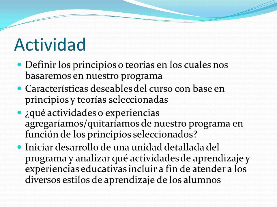 Actividad Definir los principios o teorías en los cuales nos basaremos en nuestro programa.