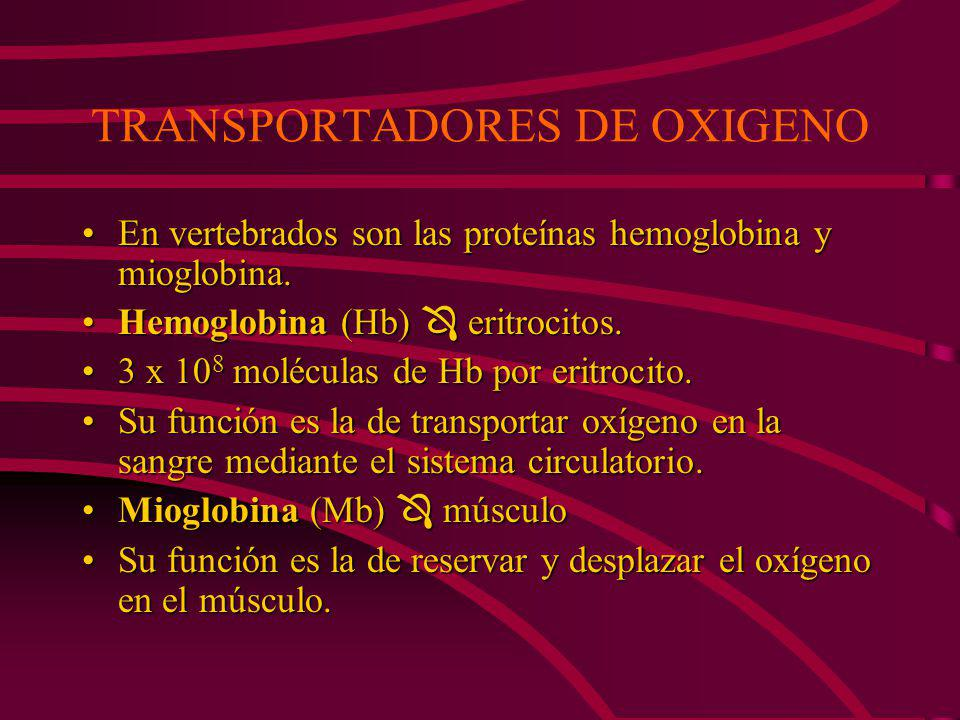 TRANSPORTADORES DE OXIGENO