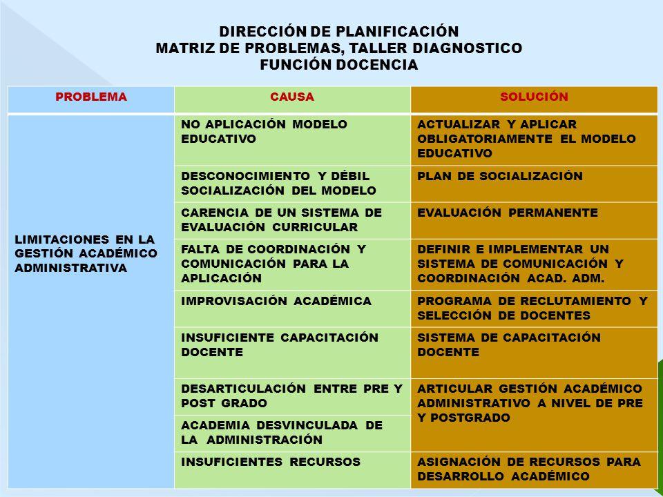 DIRECCIÓN DE PLANIFICACIÓN MATRIZ DE PROBLEMAS, TALLER DIAGNOSTICO