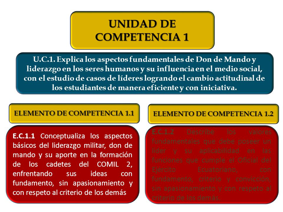 ELEMENTO DE COMPETENCIA 1.1 ELEMENTO DE COMPETENCIA 1.2