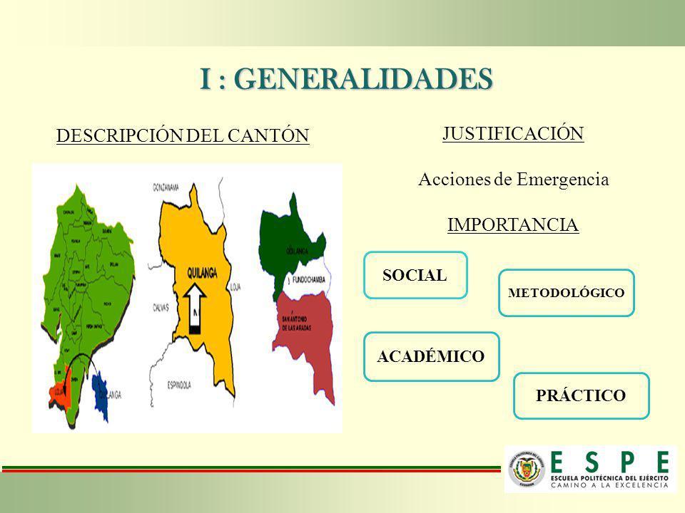 I : GENERALIDADES JUSTIFICACIÓN DESCRIPCIÓN DEL CANTÓN