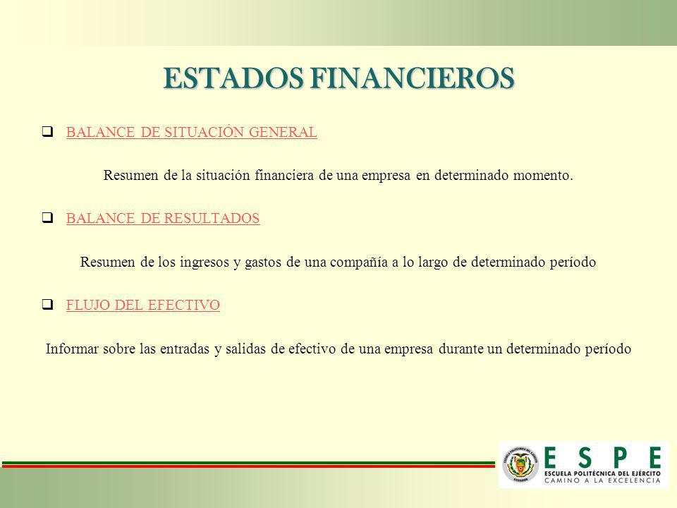 ESTADOS FINANCIEROS BALANCE DE SITUACIÓN GENERAL