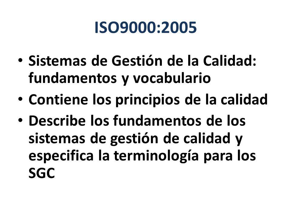 ISO9000:2005 Sistemas de Gestión de la Calidad: fundamentos y vocabulario. Contiene los principios de la calidad.
