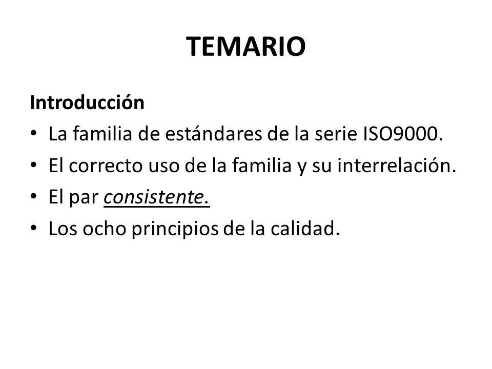 TEMARIO Introducción La familia de estándares de la serie ISO9000.