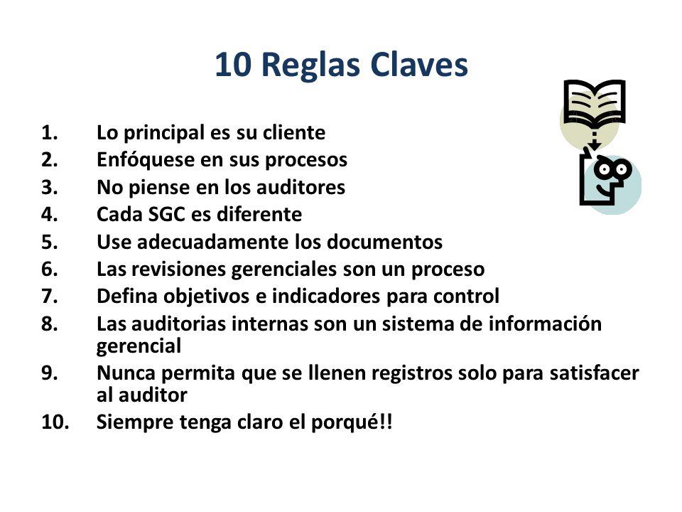 10 Reglas Claves Lo principal es su cliente Enfóquese en sus procesos