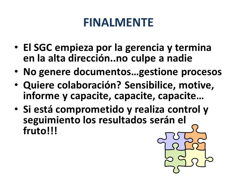 FINALMENTE El SGC empieza por la gerencia y termina en la alta dirección..no culpe a nadie. No genere documentos…gestione procesos.