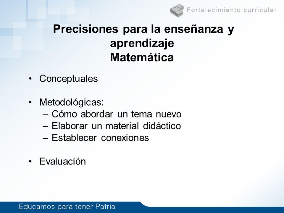 Precisiones para la enseñanza y aprendizaje Matemática