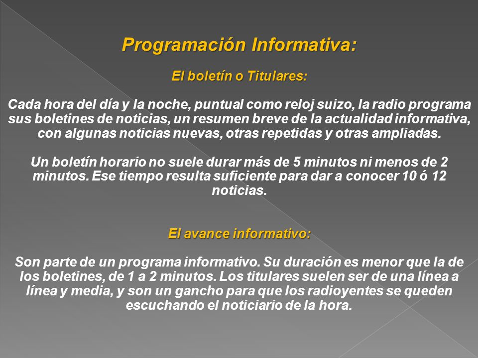 Programación Informativa: