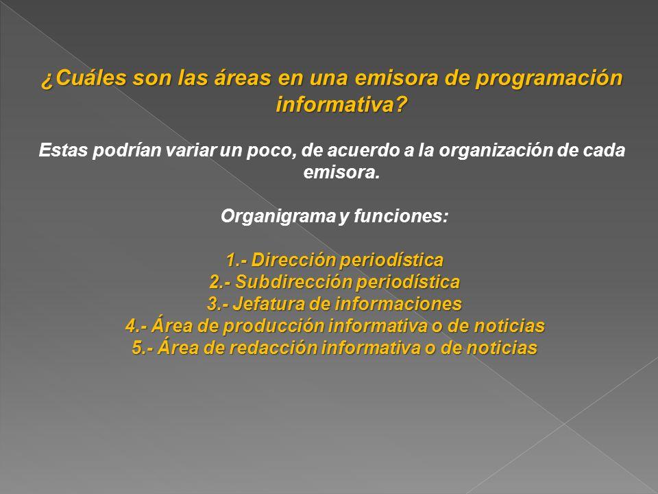¿Cuáles son las áreas en una emisora de programación informativa