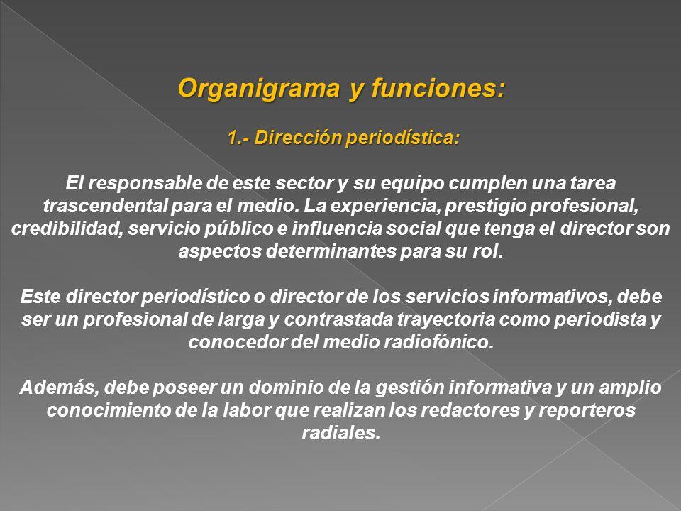 Organigrama y funciones: 1.- Dirección periodística: