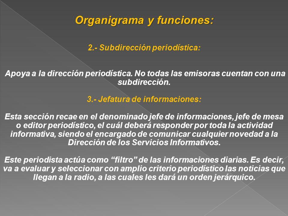 Organigrama y funciones: