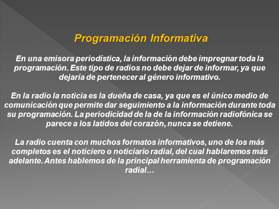 Programación Informativa