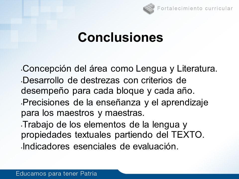 Conclusiones Concepción del área como Lengua y Literatura.