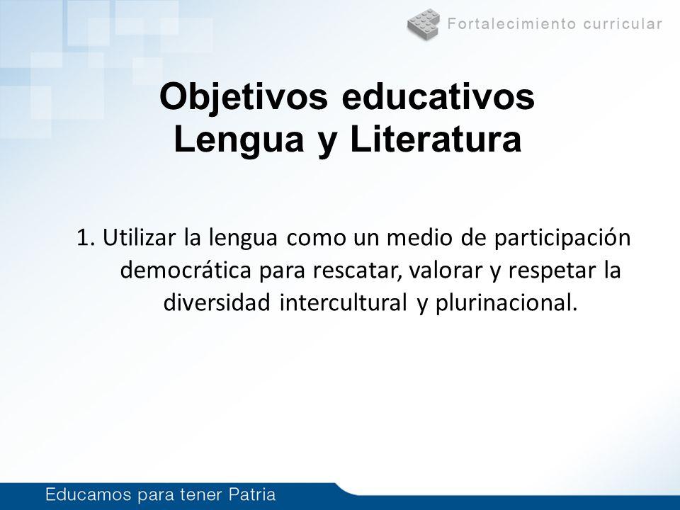 Objetivos educativos Lengua y Literatura