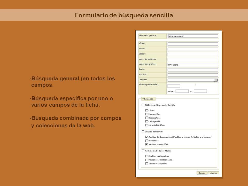 Formulario de búsqueda sencilla