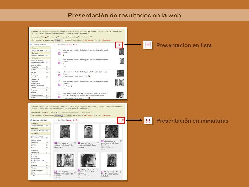 Presentación de resultados en la web