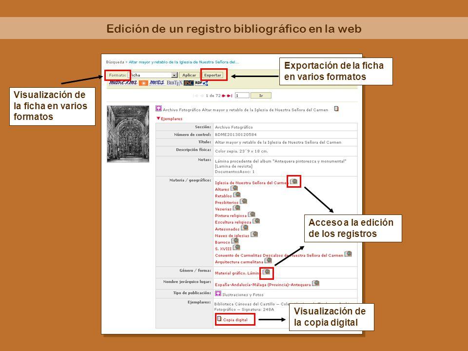 Edición de un registro bibliográfico en la web