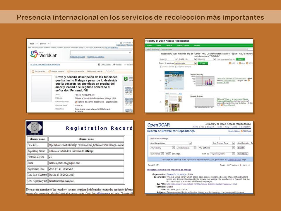 Presencia internacional en los servicios de recolección más importantes