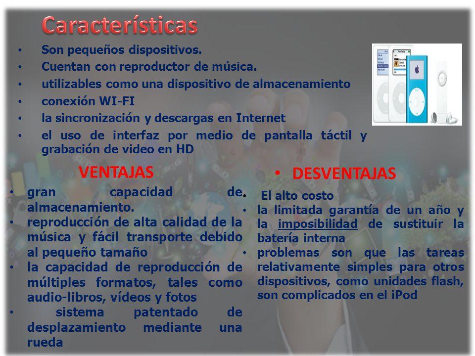 Características VENTAJAS DESVENTAJAS gran capacidad de almacenamiento.