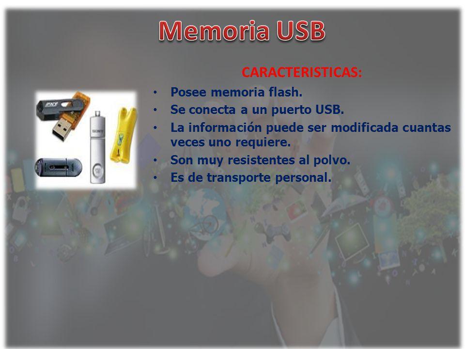 Memoria USB CARACTERISTICAS: Posee memoria flash.