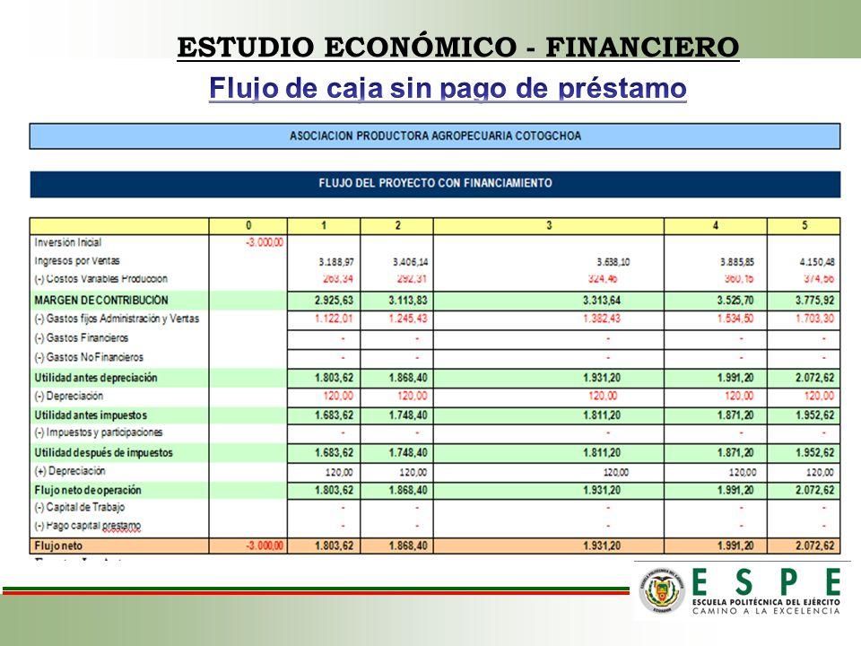 ESTUDIO ECONÓMICO - FINANCIERO Flujo de caja sin pago de préstamo