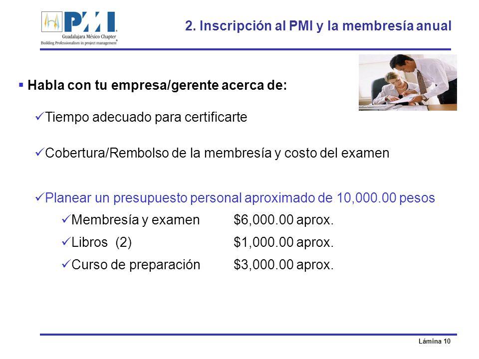2. Inscripción al PMI y la membresía anual