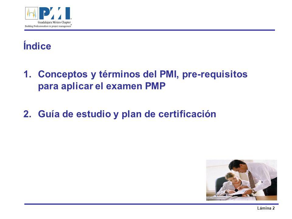 Índice Conceptos y términos del PMI, pre-requisitos para aplicar el examen PMP.