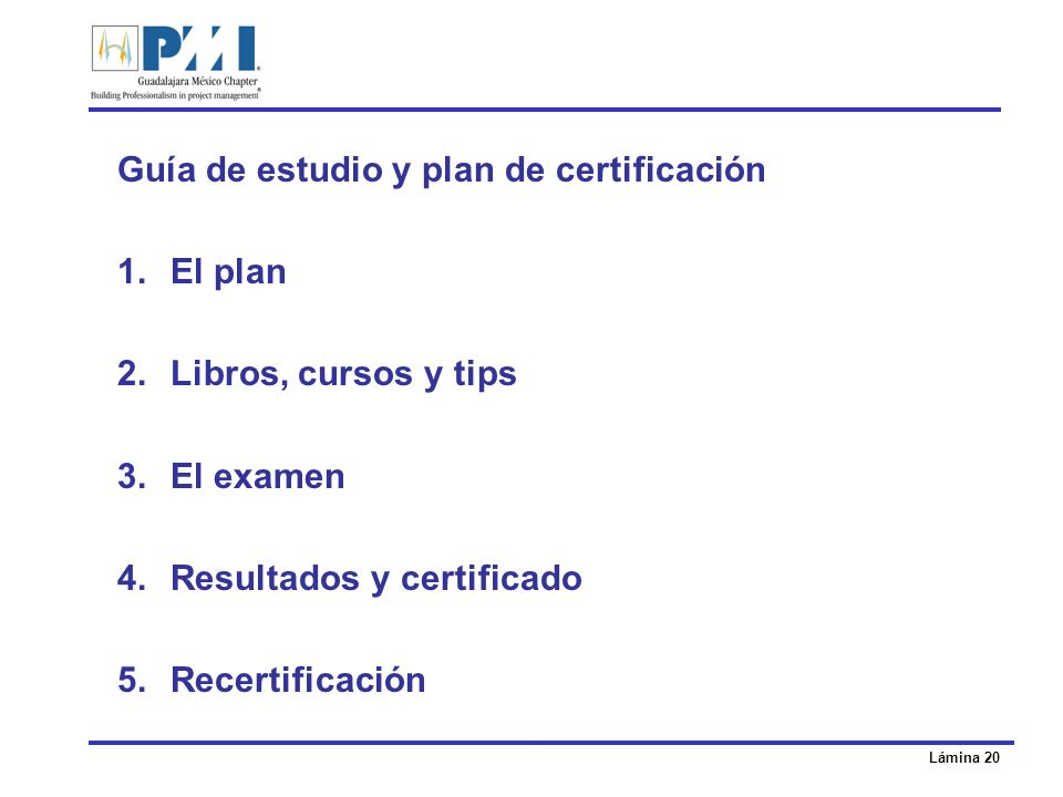 Guía de estudio y plan de certificación