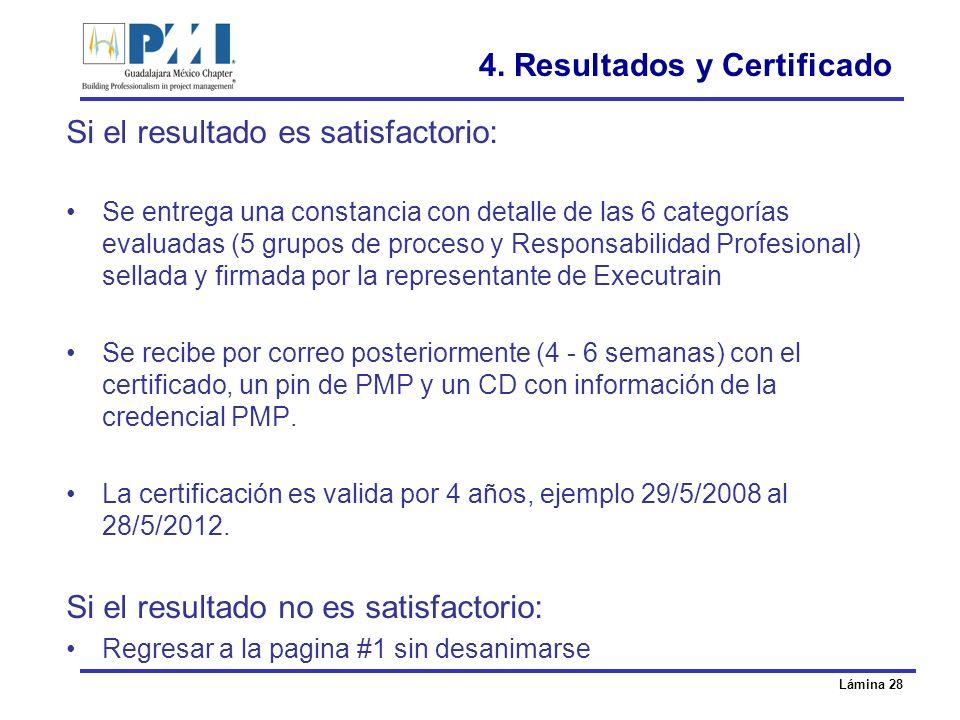 4. Resultados y Certificado