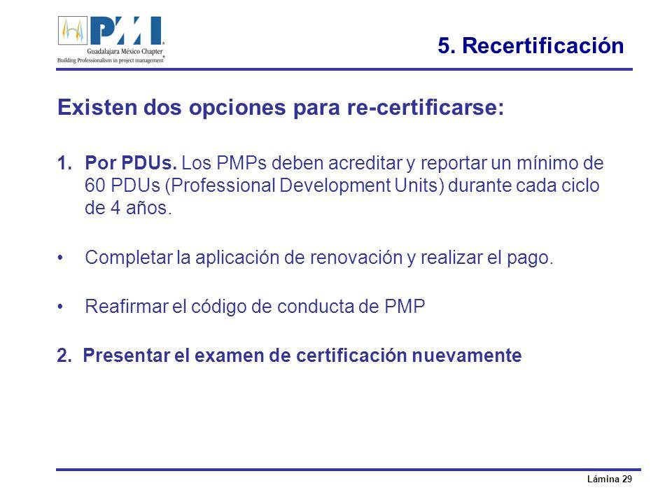 Existen dos opciones para re-certificarse: