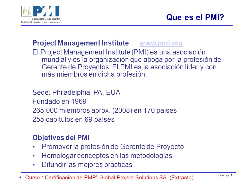 Que es el PMI Project Management Institute www.pmi.org