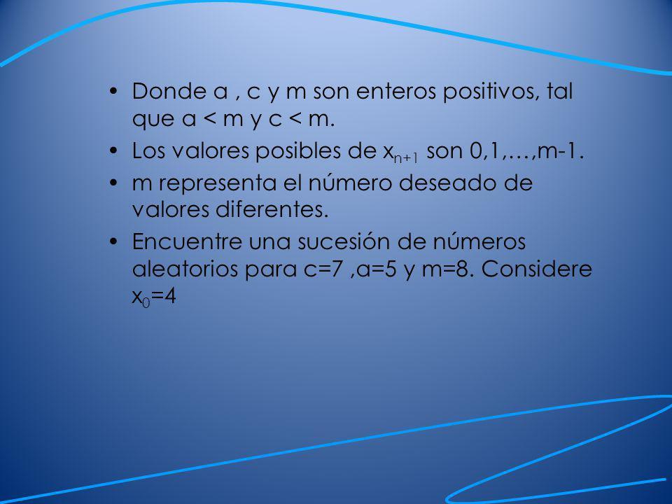 Donde a , c y m son enteros positivos, tal que a < m y c < m.