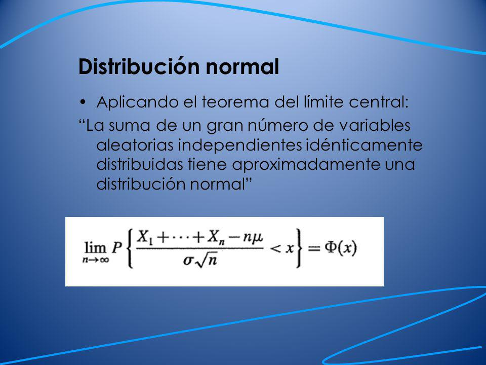 Distribución normal Aplicando el teorema del límite central: