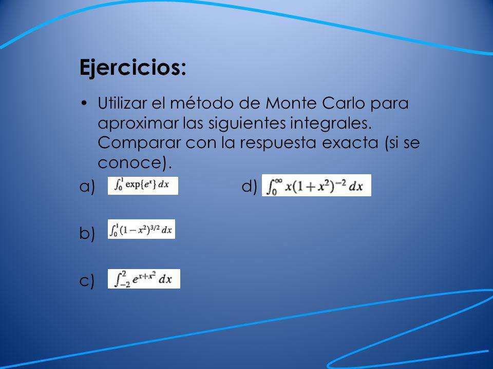 Ejercicios: Utilizar el método de Monte Carlo para aproximar las siguientes integrales. Comparar con la respuesta exacta (si se conoce).