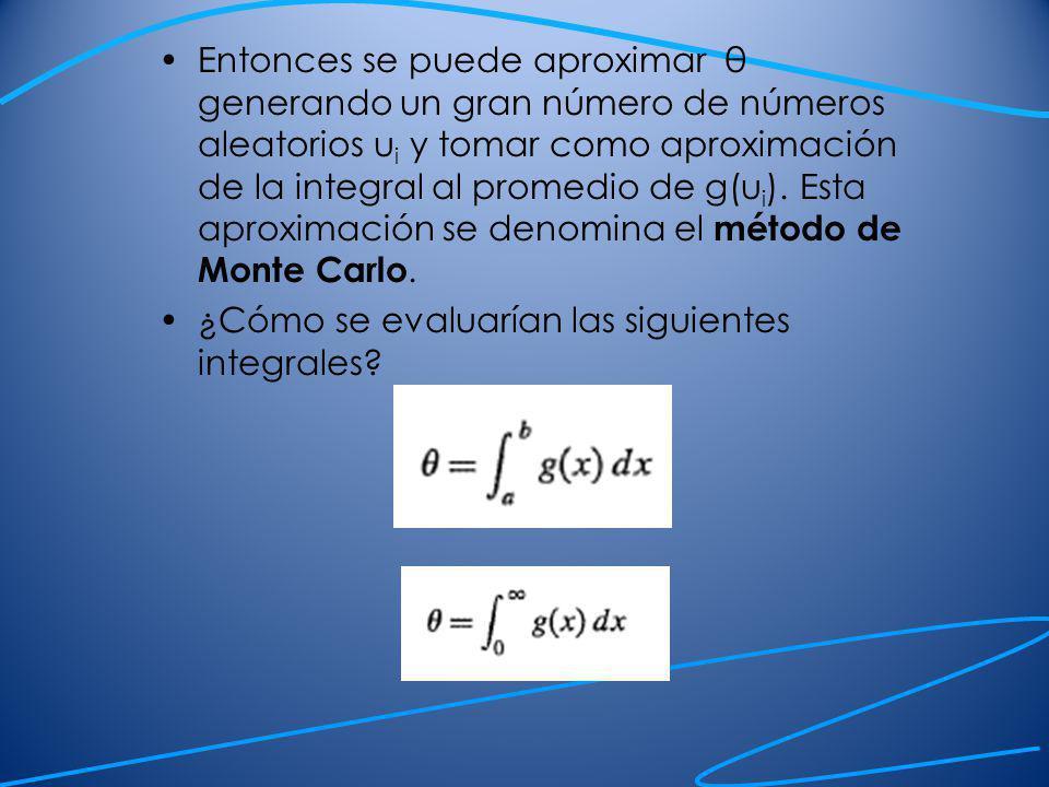 Entonces se puede aproximar θ generando un gran número de números aleatorios ui y tomar como aproximación de la integral al promedio de g(ui). Esta aproximación se denomina el método de Monte Carlo.