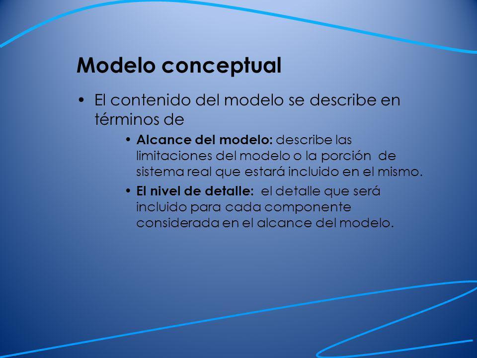 Modelo conceptual El contenido del modelo se describe en términos de