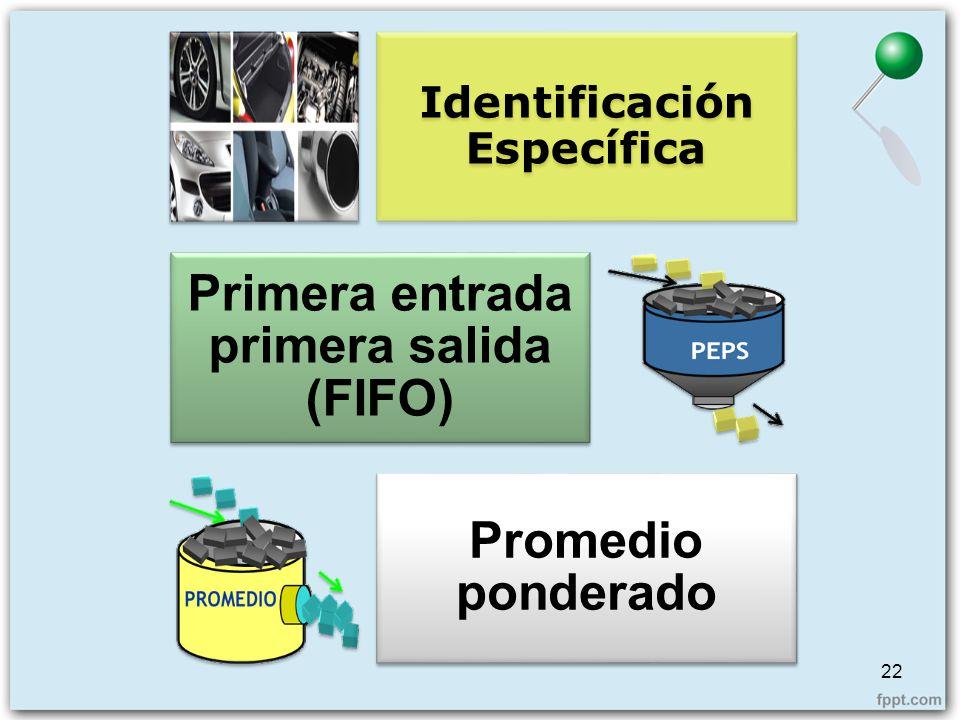 Identificación Específica Primera entrada primera salida (FIFO)