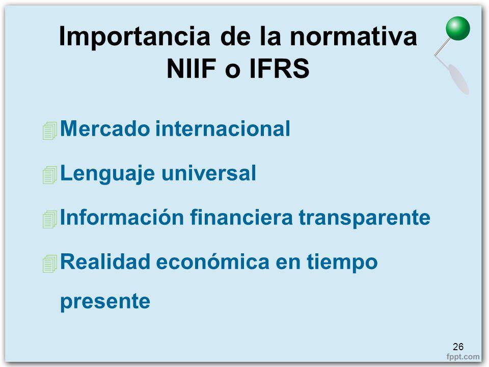 Importancia de la normativa NIIF o IFRS