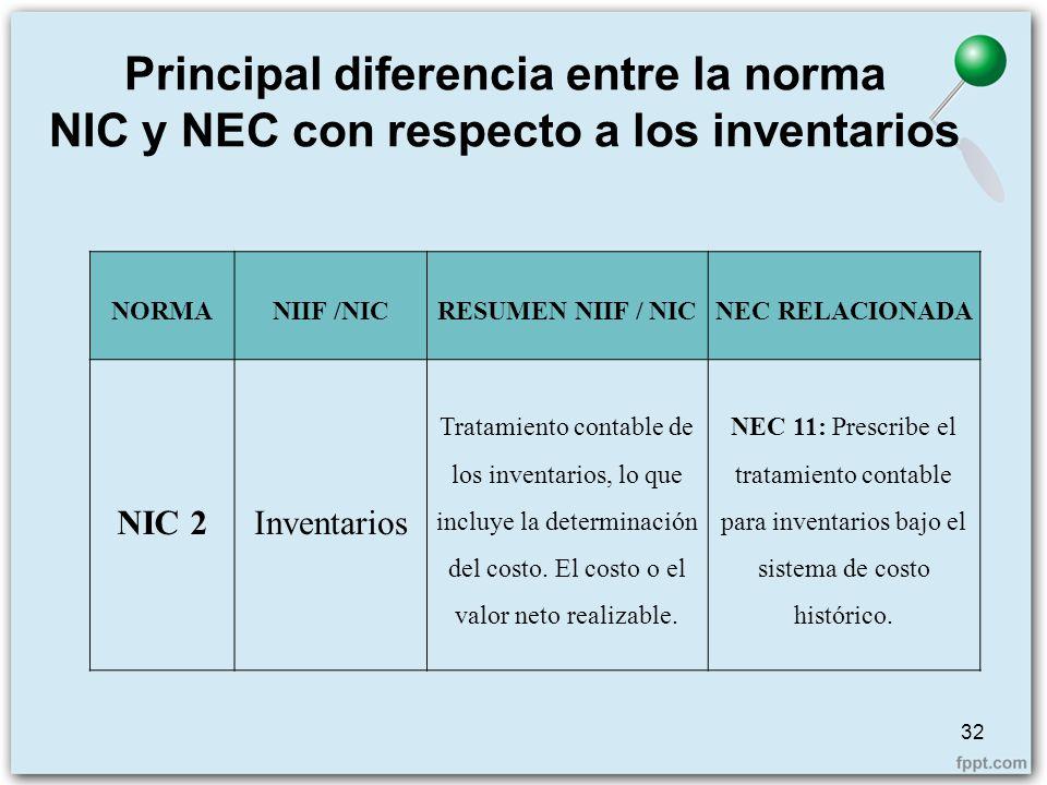 Principal diferencia entre la norma NIC y NEC con respecto a los inventarios