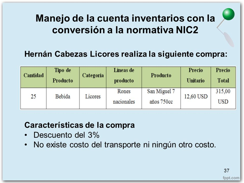 Manejo de la cuenta inventarios con la conversión a la normativa NIC2