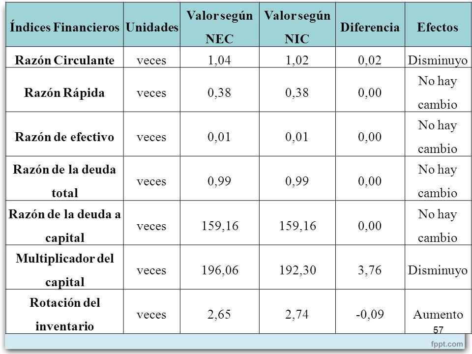 Razón de la deuda a capital 159,16 Multiplicador del capital 196,06