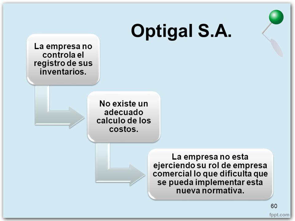 Optigal S.A. La empresa no controla el registro de sus inventarios.