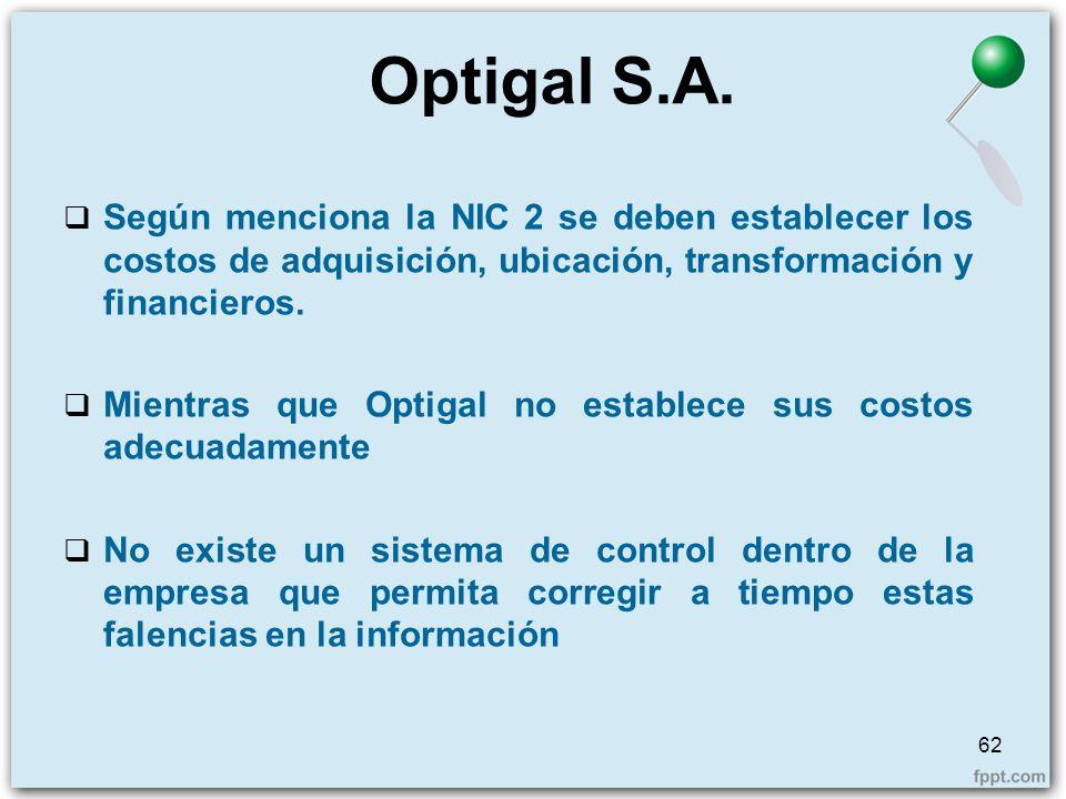 Optigal S.A. Según menciona la NIC 2 se deben establecer los costos de adquisición, ubicación, transformación y financieros.