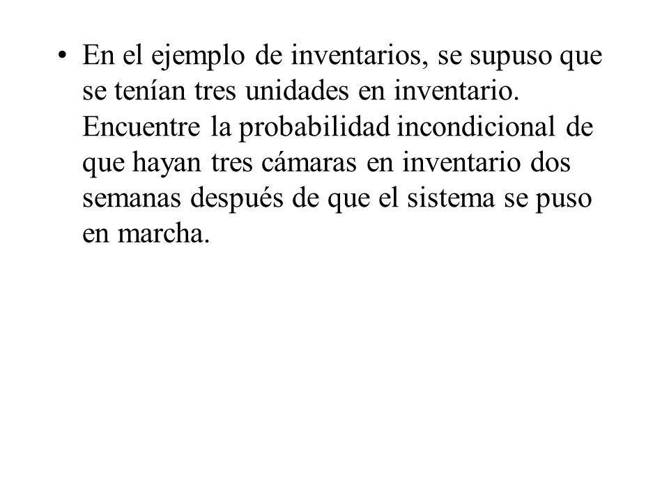 En el ejemplo de inventarios, se supuso que se tenían tres unidades en inventario.
