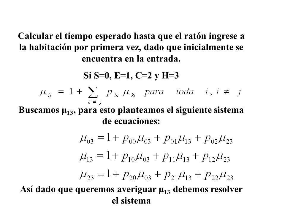 Buscamos µ13, para esto planteamos el siguiente sistema de ecuaciones: