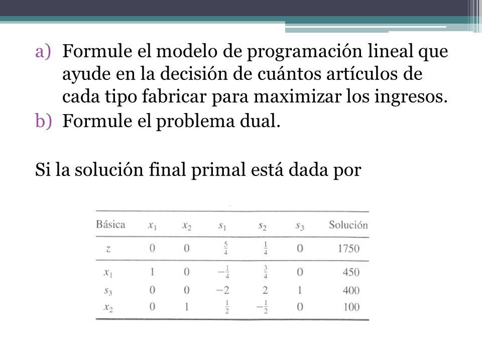 Formule el modelo de programación lineal que ayude en la decisión de cuántos artículos de cada tipo fabricar para maximizar los ingresos.