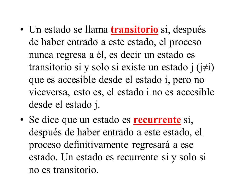 Un estado se llama transitorio si, después de haber entrado a este estado, el proceso nunca regresa a él, es decir un estado es transitorio si y solo si existe un estado j (j≠i) que es accesible desde el estado i, pero no viceversa, esto es, el estado i no es accesible desde el estado j.