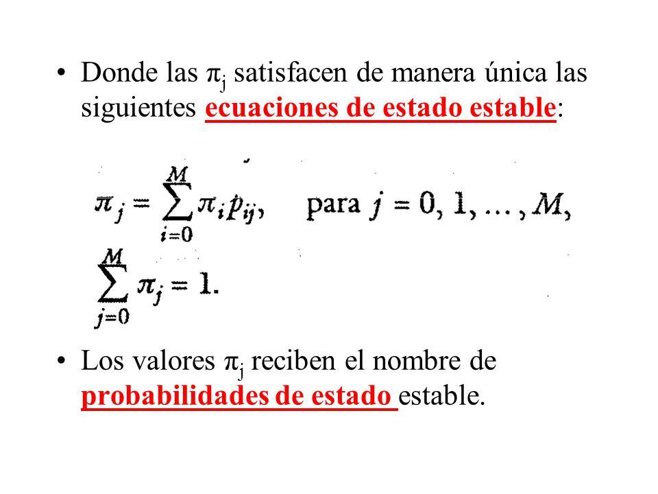 Donde las πj satisfacen de manera única las siguientes ecuaciones de estado estable: