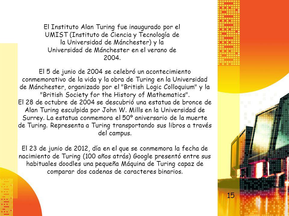 El Instituto Alan Turing fue inaugurado por el UMIST (Instituto de Ciencia y Tecnología de la Universidad de Mánchester) y la Universidad de Mánchester en el verano de 2004.